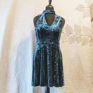 Blue Crushed Velvet Peekaboo Neckline Dress